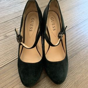 GUESS Black Ankle Strap Suede Heels